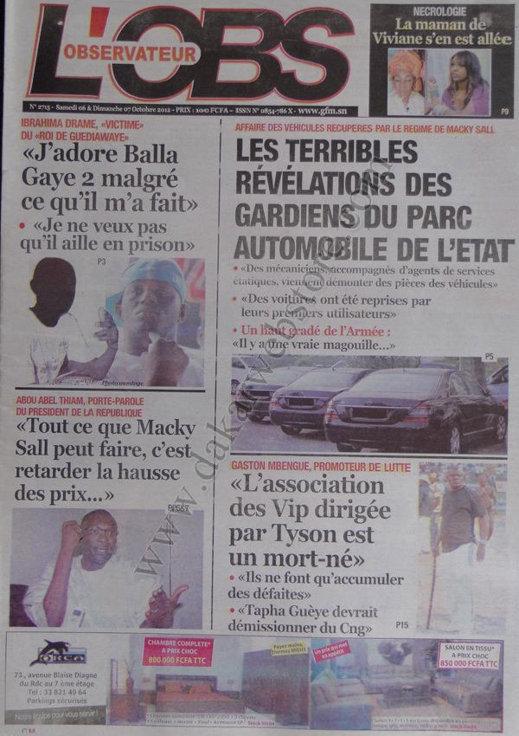 A la Une du Journal L'Observateur du 06 Octobre