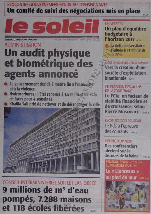 A la Une du Journal Le Soleil du 06 Octobre