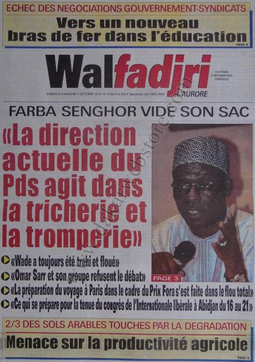 A la Une du Journal Walfadjri du 06 Octobre