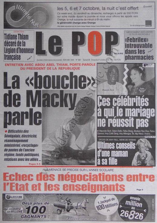 A la Une du Journal Le Populaire du 06 Octobre