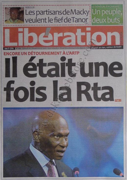 A la Une du Journal Libération du 06 Octobre