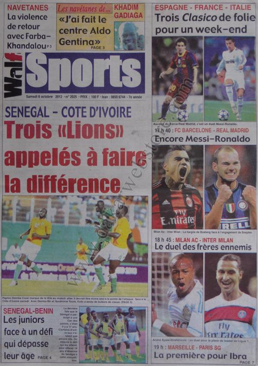 A la Une du Journal Walf Sports du 06 Octobre