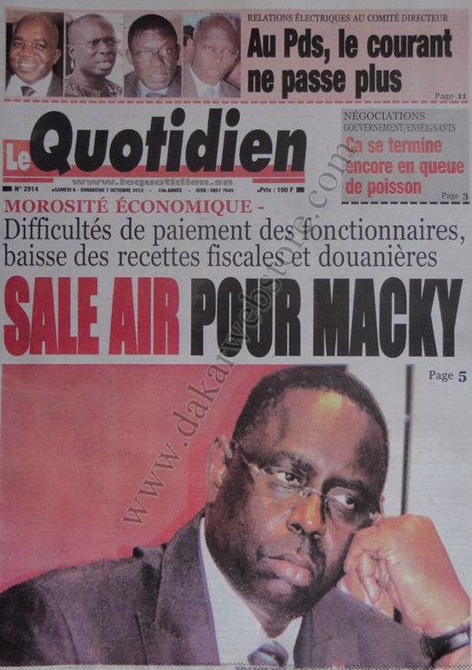 A la Une du Journal Le Quotidien du 06 Octobre