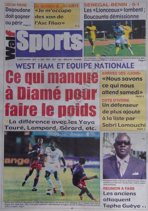 A la Une du Journal Walf Sports du 08 Octobre