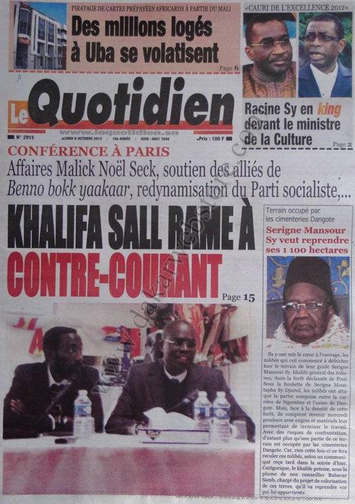 A la Une du Journal Le Quotidien du 08 Octobre