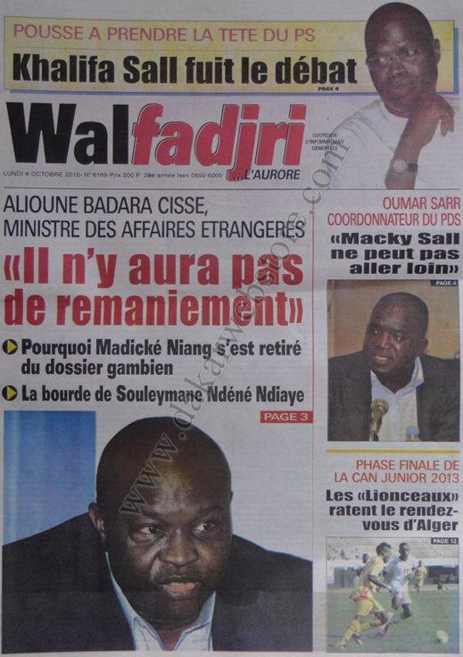 A la Une du Journal Walfadjri du 08 Octobre