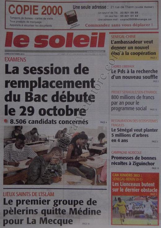 A la Une du Journal Le Soleil du 08 Octobre