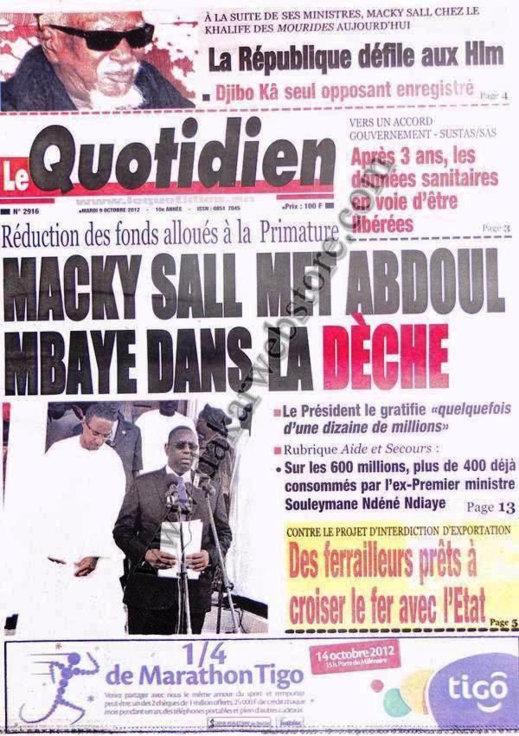 A la Une du Journal Le Quotidien du 09 Octobre