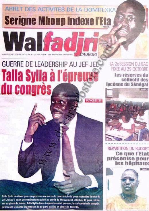 A la Une du Journal Walfadjri du 09 Octobre
