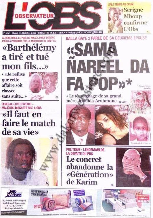A la Une du Journal L'Observateur du 09 Octobre
