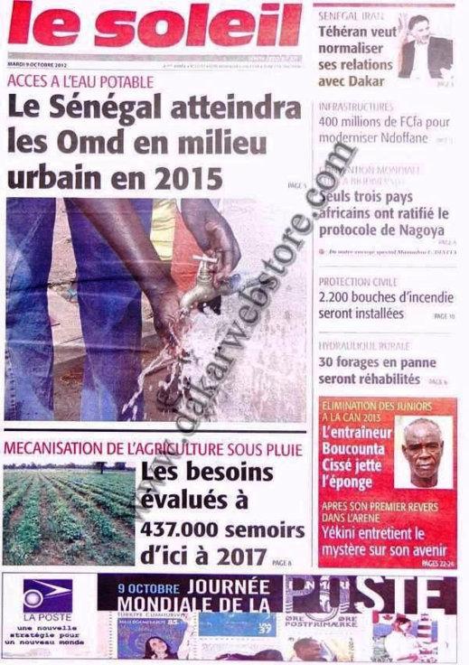 A la Une du Journal Le Soleil du 09 Octobre