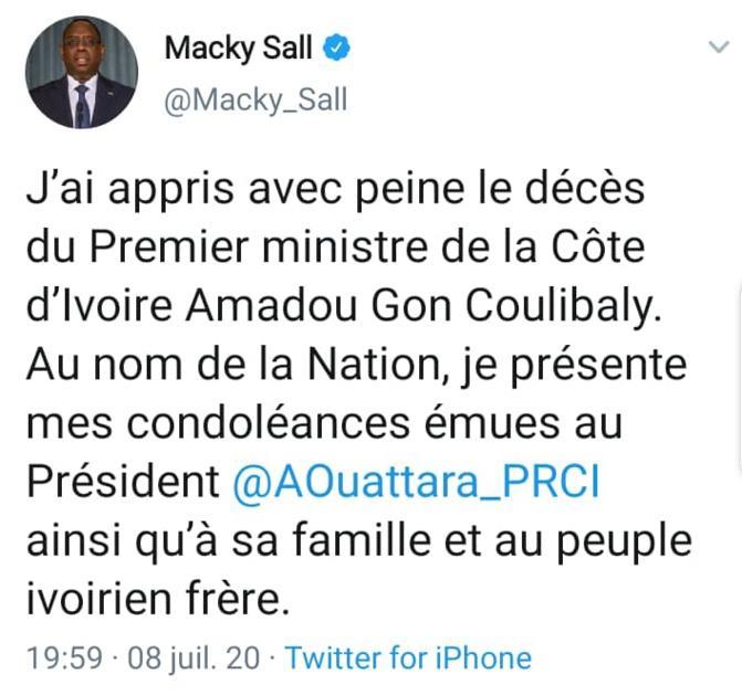 Décès de Amadou Gon Coulibaly: Les condoléances de Macky Sall