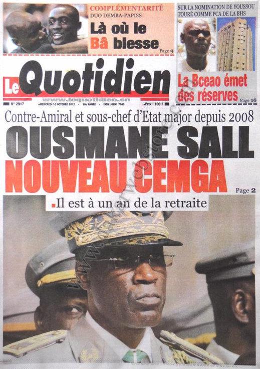 A la Une du Journal Le Quotidien du 10 Octobre