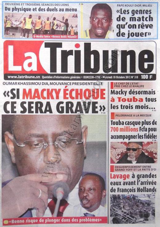 A la Une du Journal La Tribune du 10 Octobre