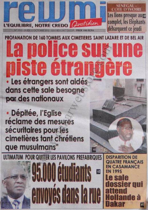 A la Une du Journal Rewmi Quotidien du 11 Octobre