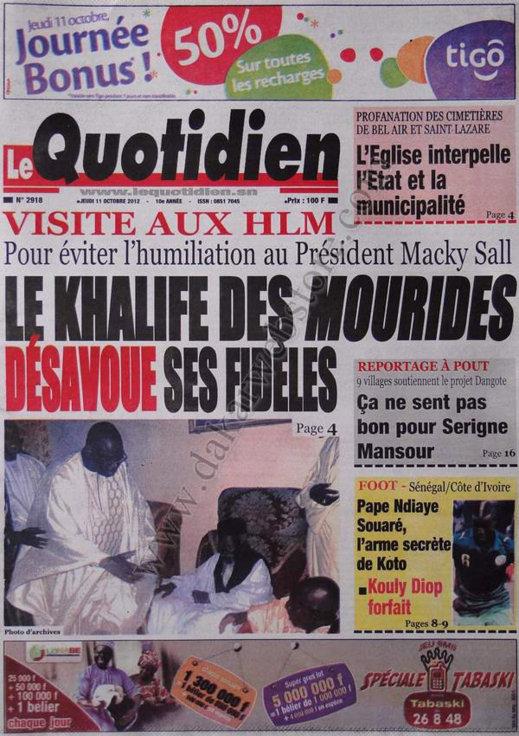 A la Une du Journal Le Quotidien du 11 Octobre