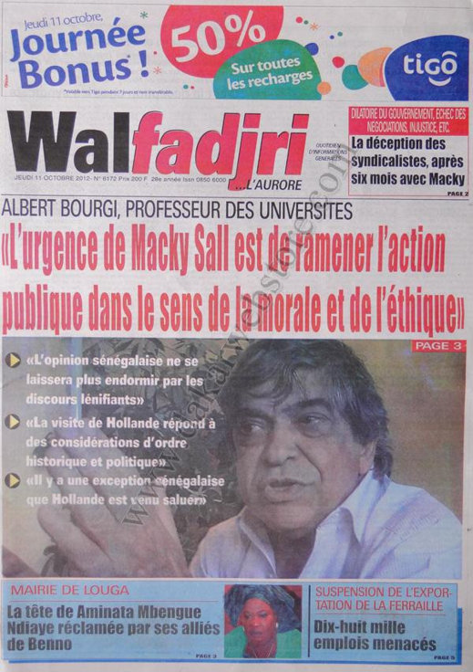 A la Une du Journal Walfadjri du 11 Octobre