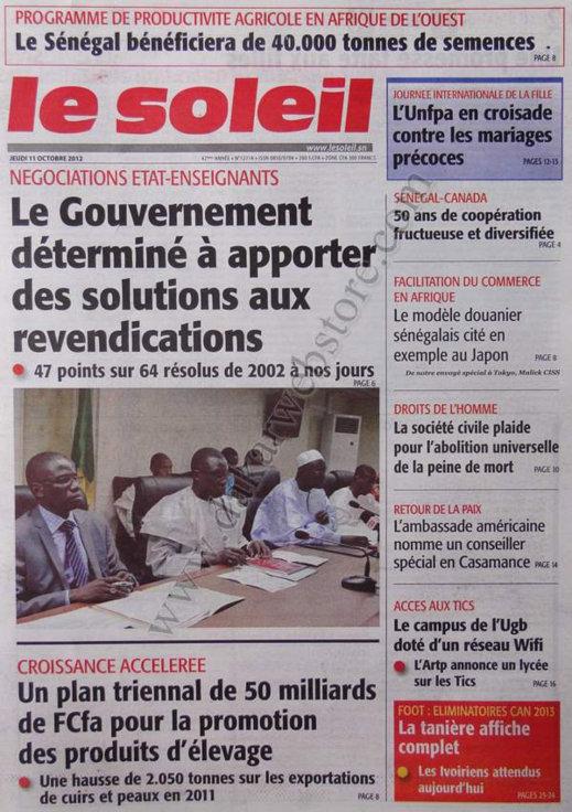 A la Une du Journal Le Soleil du 11 Octobre