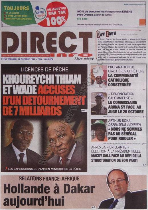 A la Une du Journal Direct Info du 12 Octobre