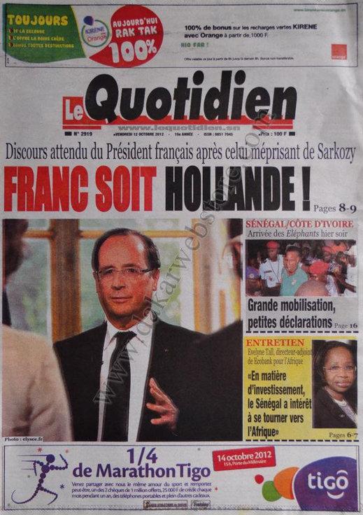 A la Une du Journal Le Quotidien du 12 Octobre