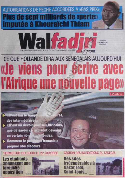 A la Une du Journal Walfadjri du 12 Octobre