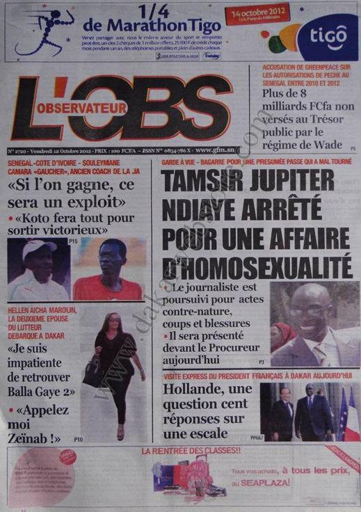 A la Une du Journal L'Observateur du 12 Octobre
