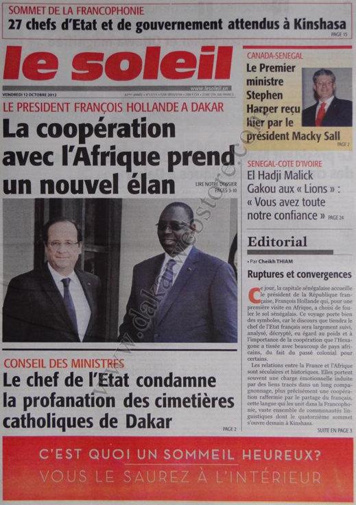 A la Une du Journal Le Soleil du 12 Octobre