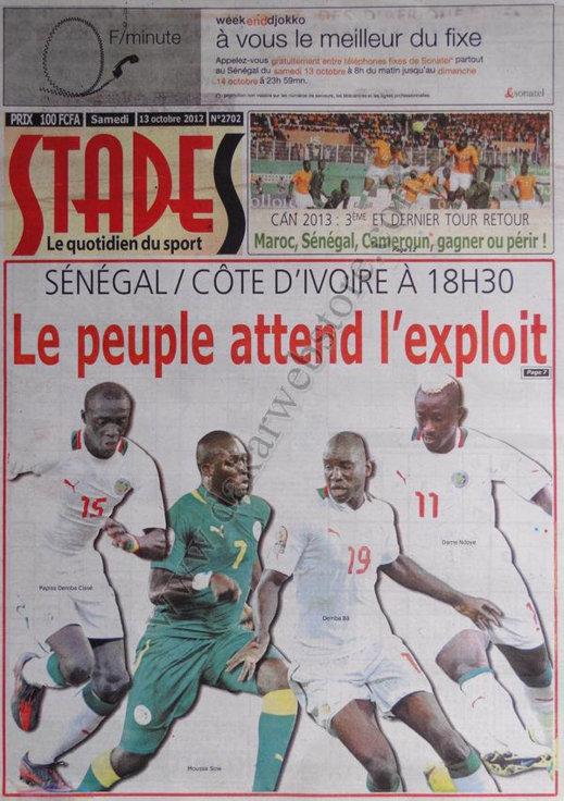 A la Une du Journal Stade du 13 Oct