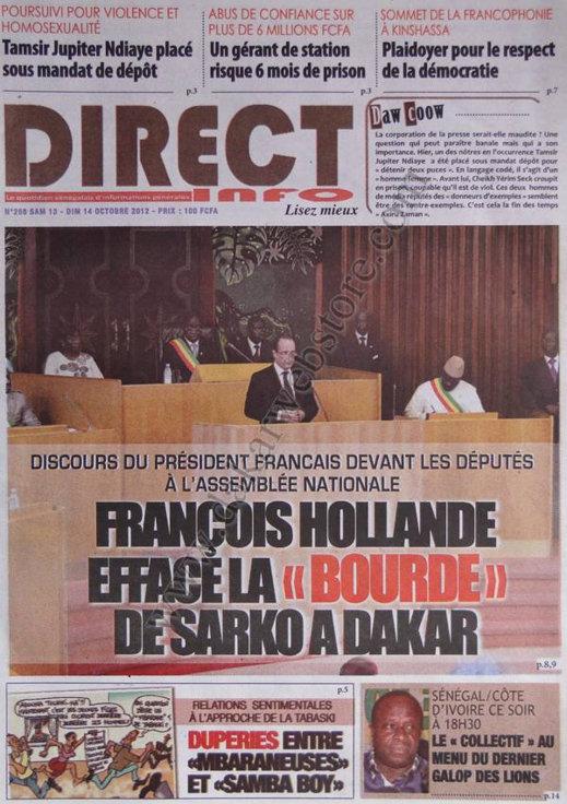 A la Une du Journal Direct Info du 13 Oct