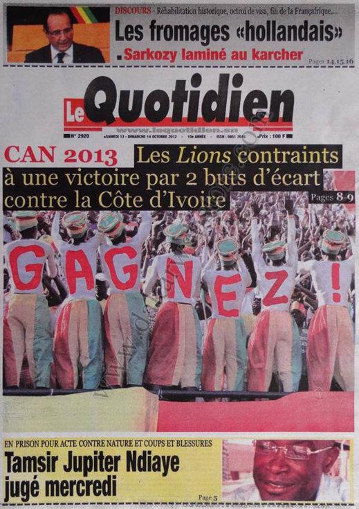 A la Une du Journal Le Quotidien du 13 Octobre