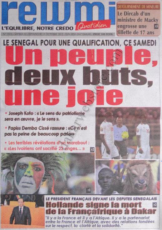 A la Une du Journal Rewmi Quotidien du 13 Octobre
