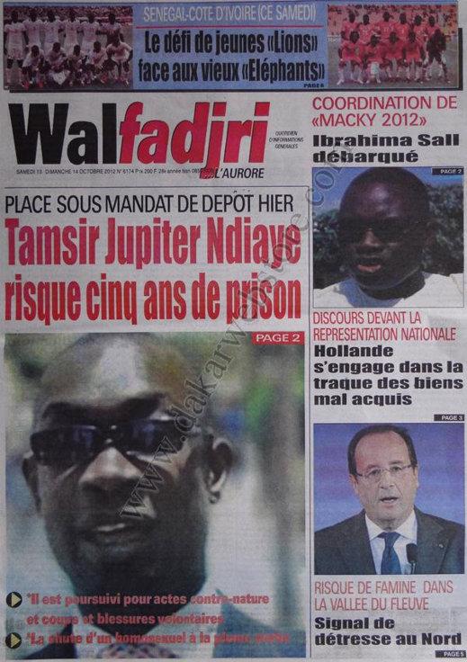 A la Une du Journal Walfadjri du 13 Octobre
