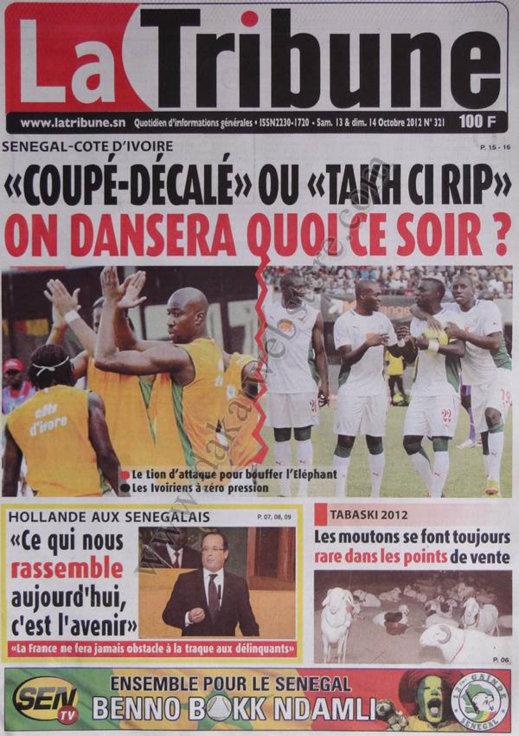 A la Une du Journal La Tribune du 13 Octobre
