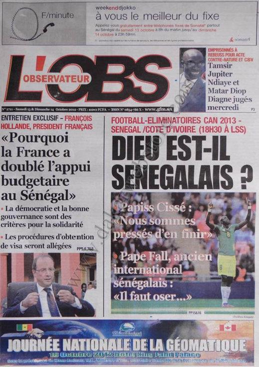 A la Une du Journal L'Observateur du 13 Octobre
