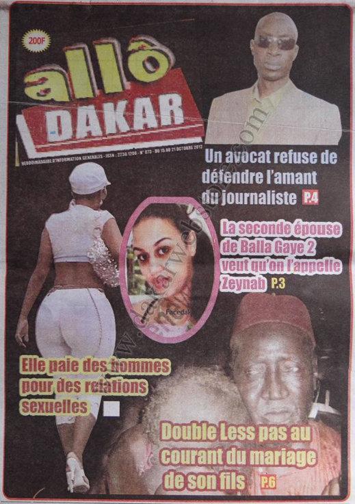 A la Une du Journal Allô Dakar du 15 Octobre
