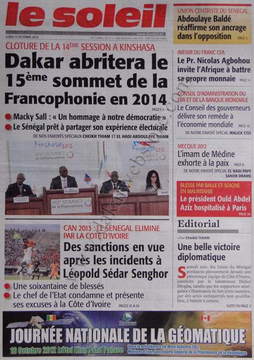 A la Une du Journal Le Soleil du 15 Octobre