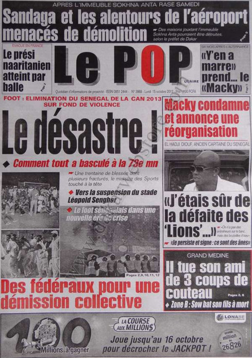 A la Une du Journal Le Populaire du 15 Octobre