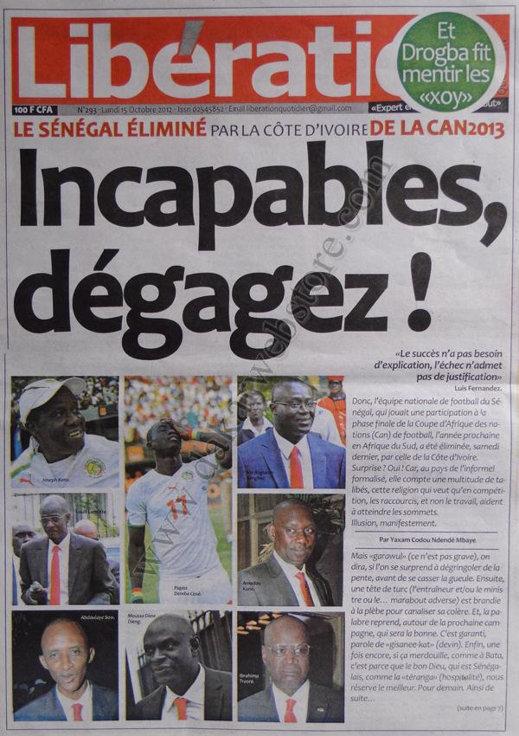 A la Une du Journal Libération du 15 Octobre