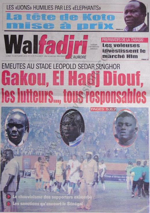 A la Une du Journal Walfadjri du 15 Octobre