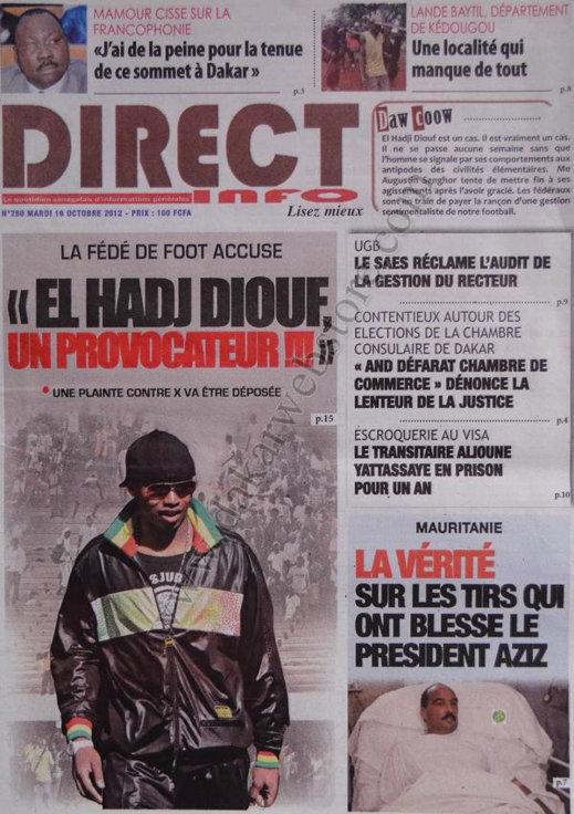 A la Une du Journal Direct Info du 16 Octobre
