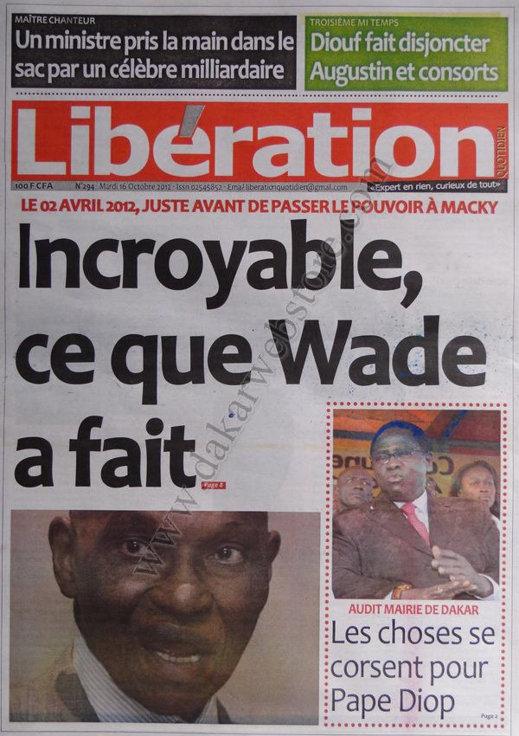 A la Une du Journal Libération du 16 Octobre