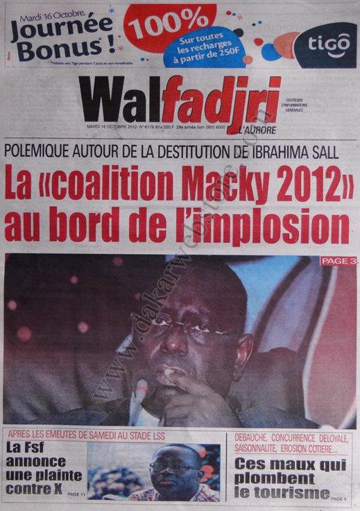 A la Une du Journal Walfadjri du 16 Octobre
