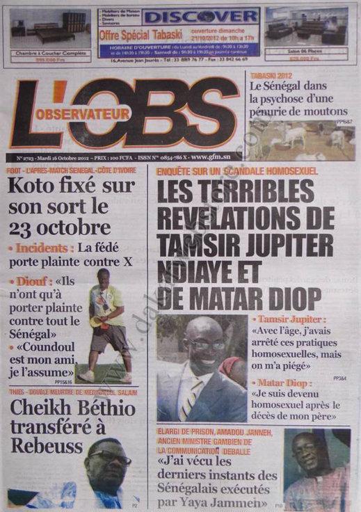 A la Une du Journal L'Observateur du 16 Octobre