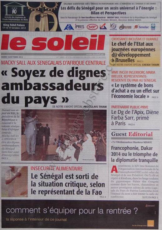 A la Une du Journal Le Soleil du 16 Octobre