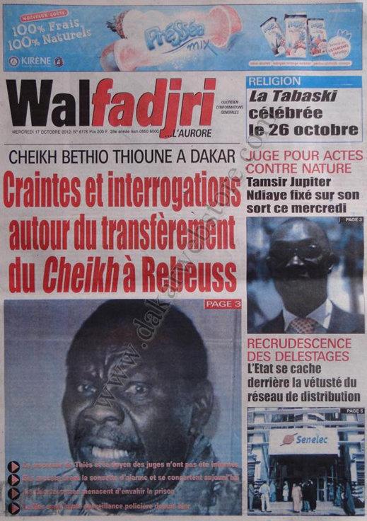 A la Une du Journal Walfadjri du 17 Octobre