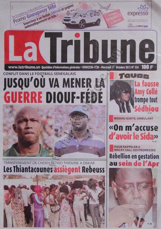 A la Une du Journal La Tribune du 17 Octobre