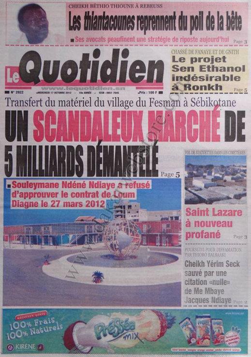 A la Une du Journal Le Quotidien du 17 Octobre