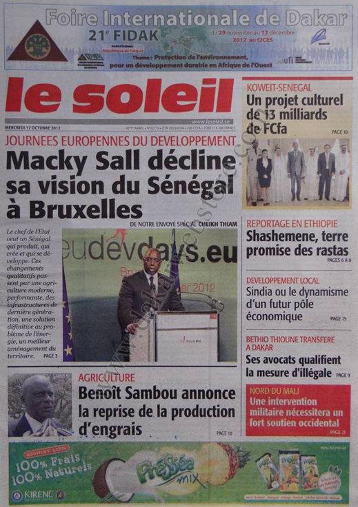 A la Une du Journal Le Soleil du 17 Octobre