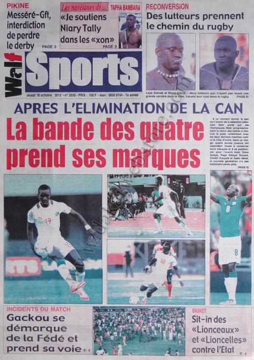 A la Une du Journal Walf Sports du 18 Octobre