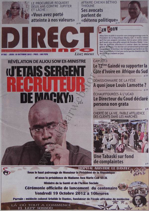 A la Une du Journal Direct Info du 18 Octobre
